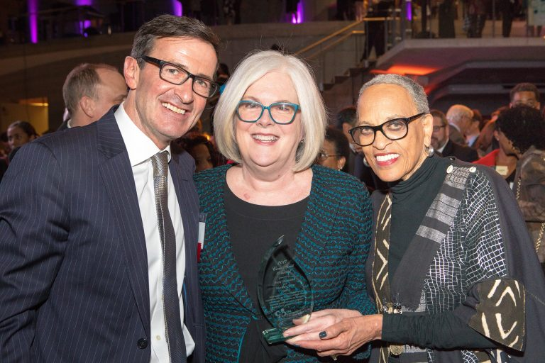 2017 Civic Spirit Award Honoree Patty Stonesifer of Martha's Table (center) with Bruce McNamer (CEO, The Community Foundation) and Dr. Johnnetta B. Cole (Director, Smithsonian National Museum of African Art).