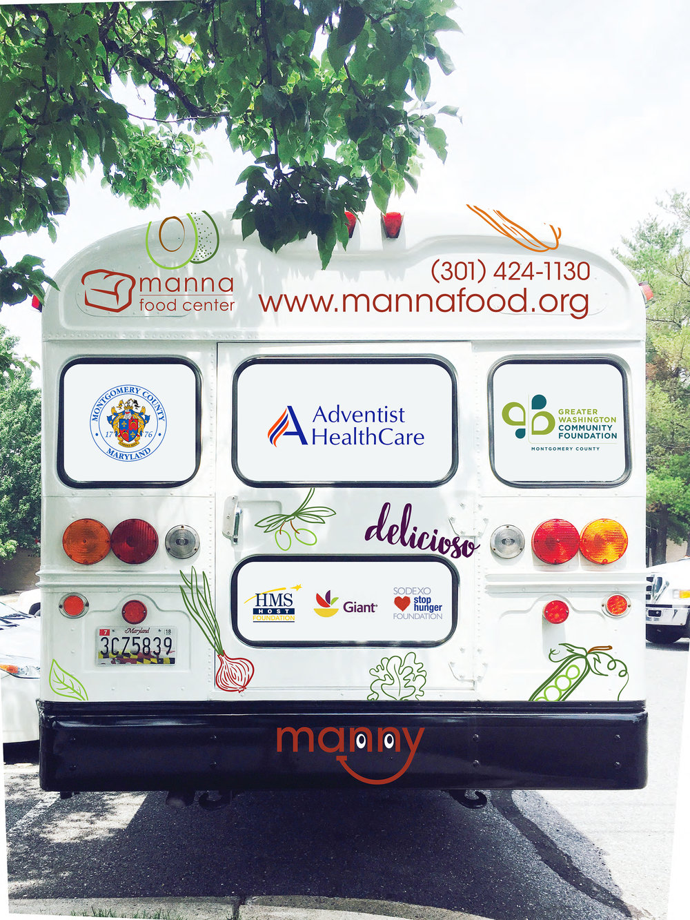 """Manny"" the mobile kitchen and pop-up pantry from Manna Food Center."