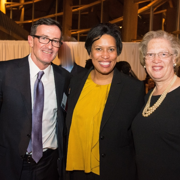 Greater Washington Community Foundation President and CEO Bruce McNamer, DC Mayor Muriel Bowser, and 2018 Civic Spirit Award honoree Carol Thompson Cole