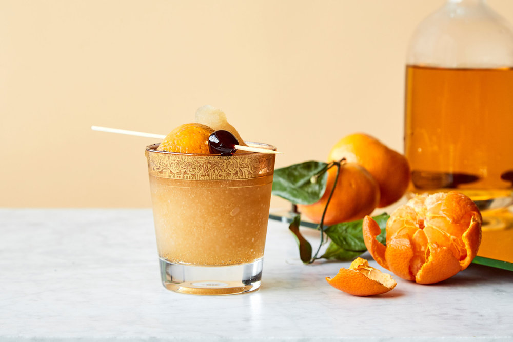cold fashioned - Kelvin Citrus Slush Mix, Whiskey, Orange Juice, Bitters