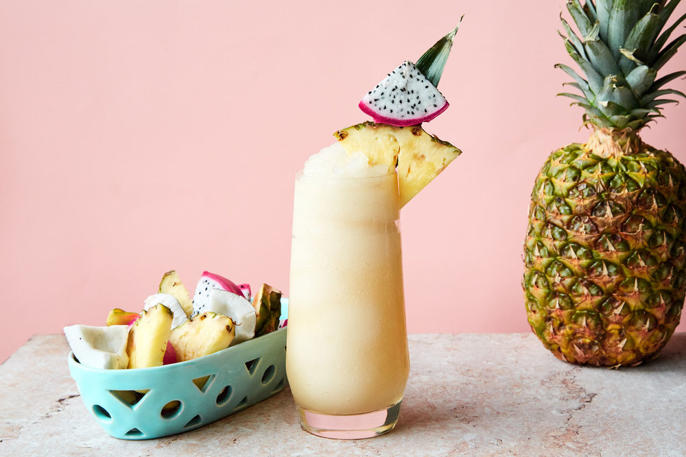 Chi Chi slushy drink with fresh pineapple.