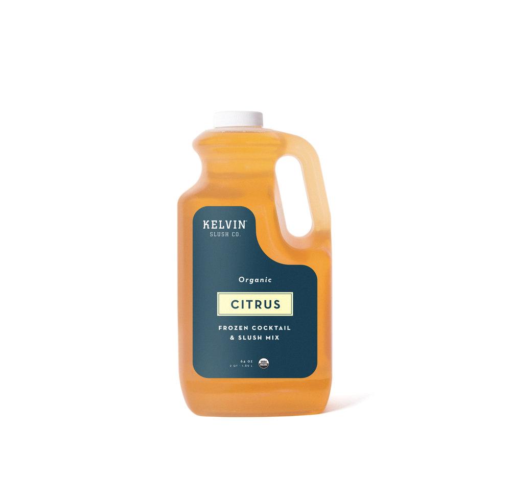 Kelvin Slush Citrus mix in a plastic container.