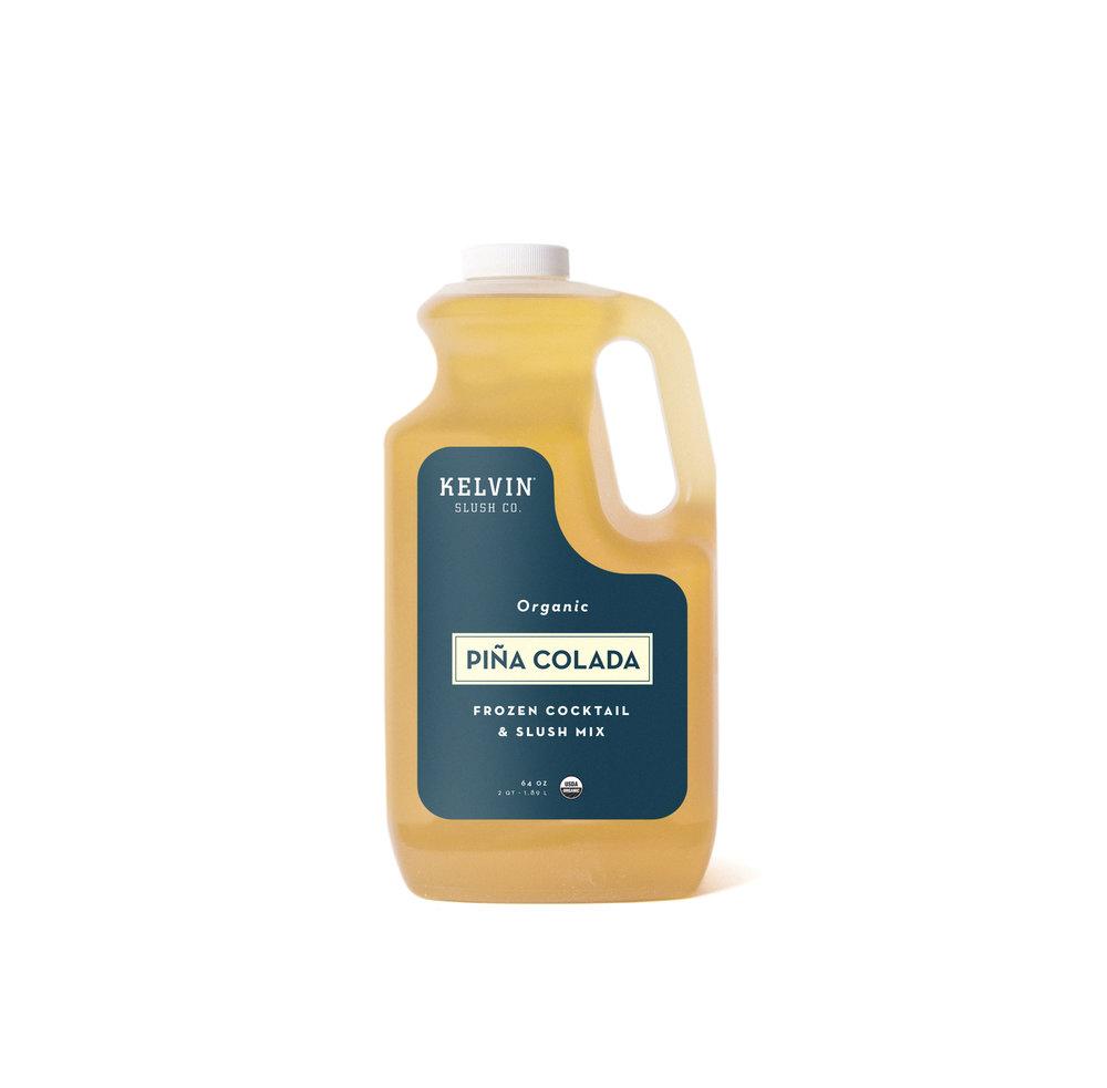 Kelvin Slush Pina Colada mix in a plastic container.