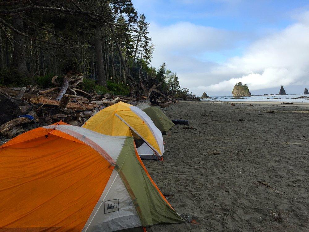 Camping at Third Beach at Olympic National Park