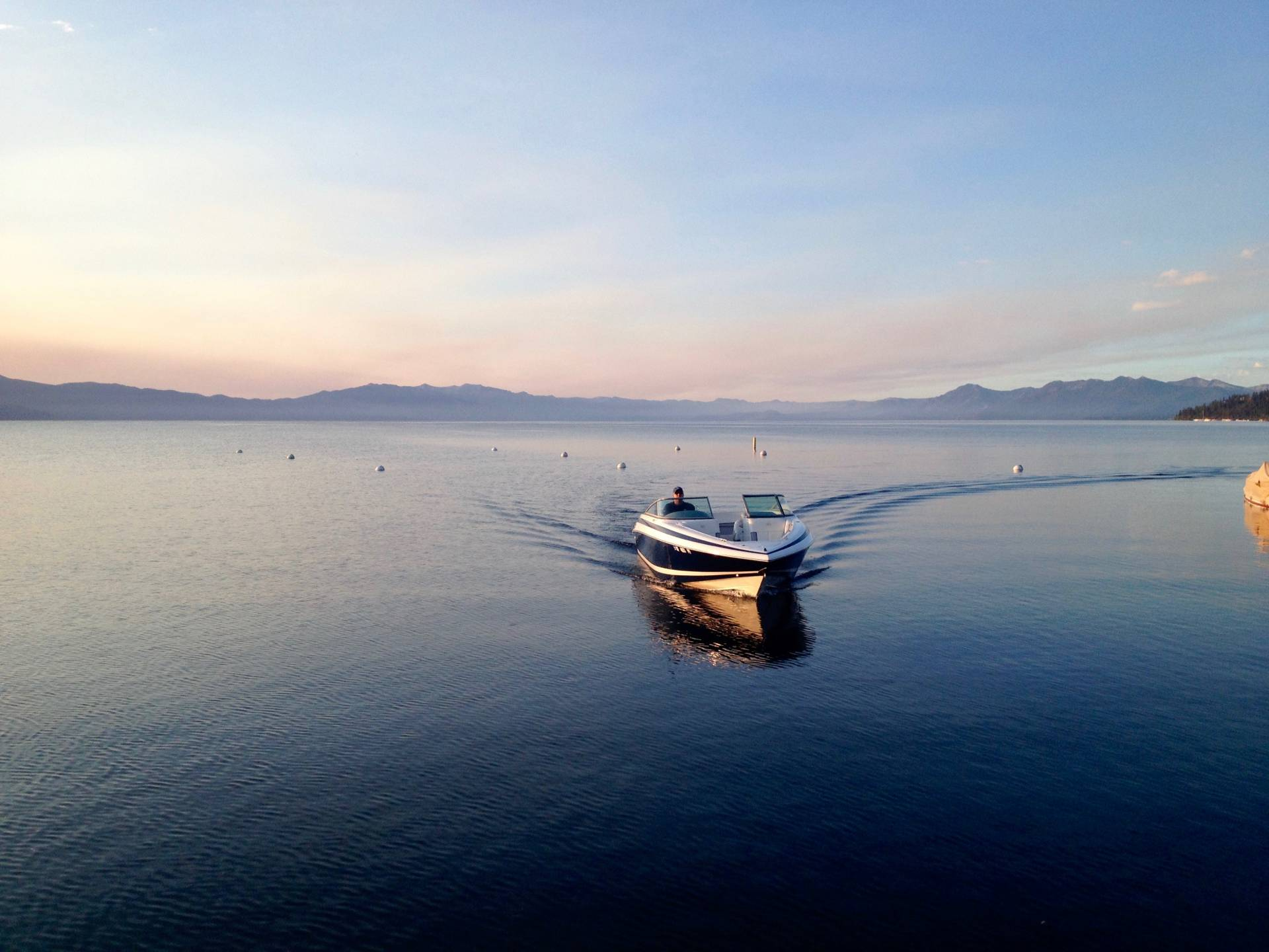 Sunrise on Lake Tahoe CA and getting ready to go out wakeboarding