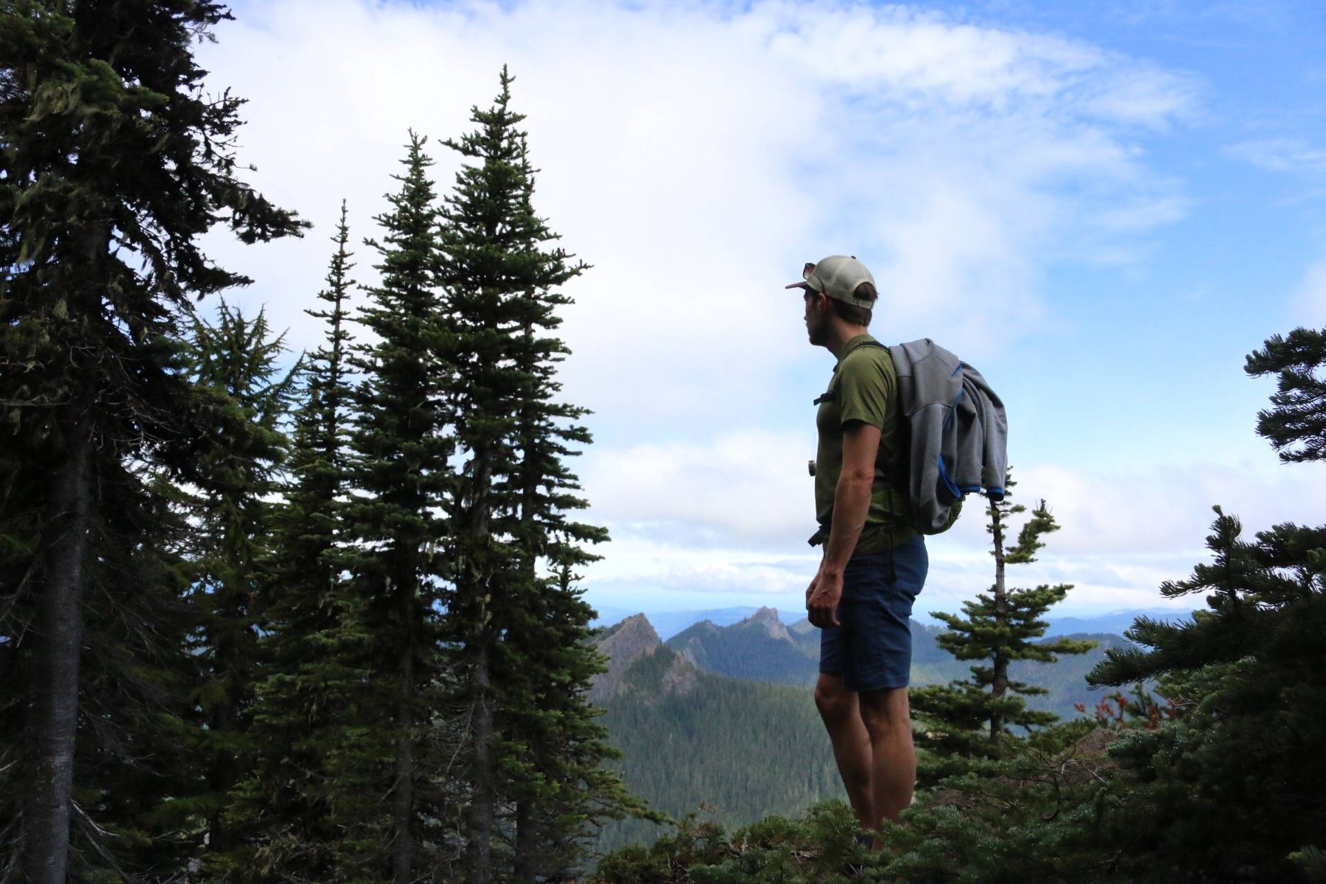 Hiking up to the Top of High Rock Lookout near Mt. Rainer, WA