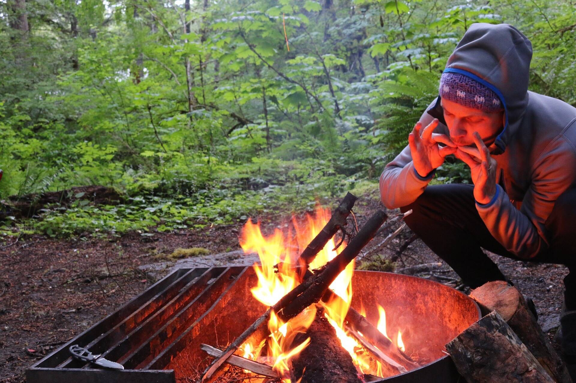 campfire at Big Creek near Mt Rainer, WA