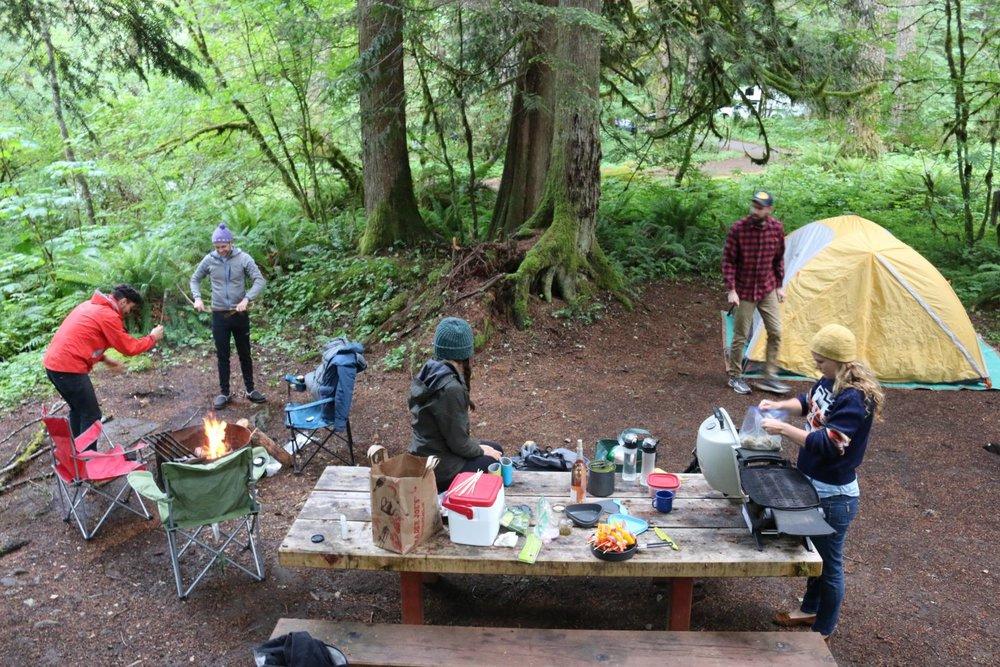setting up camp at big creek near Rainer, WA