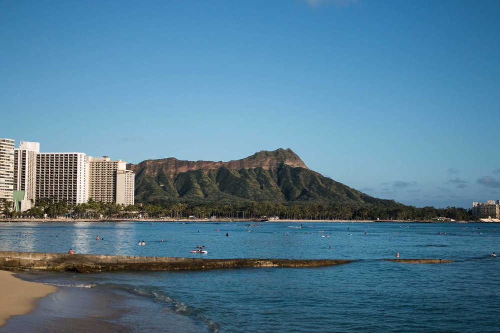 The view of Diamond Head from Waikiki Beach