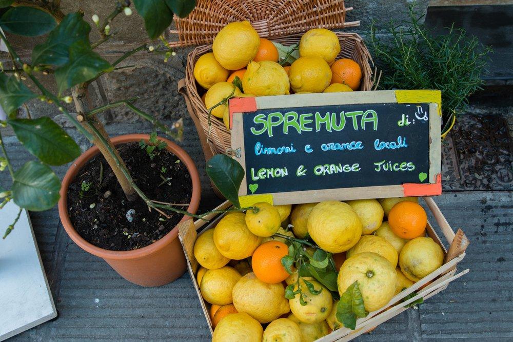 Spremuta lemon juice in Cinque Terre