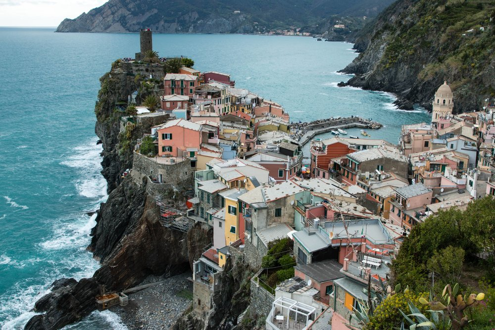 aerial view of vernazza from cinque terre trail