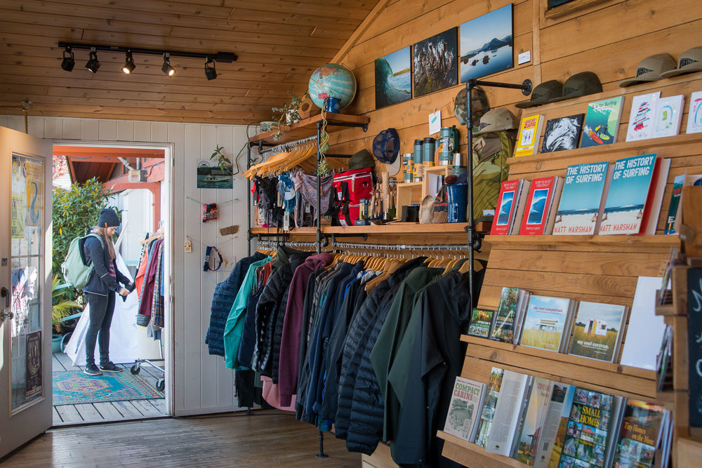 Shopping at local store Caravan Beach Shop in Tofino, Summer 2017