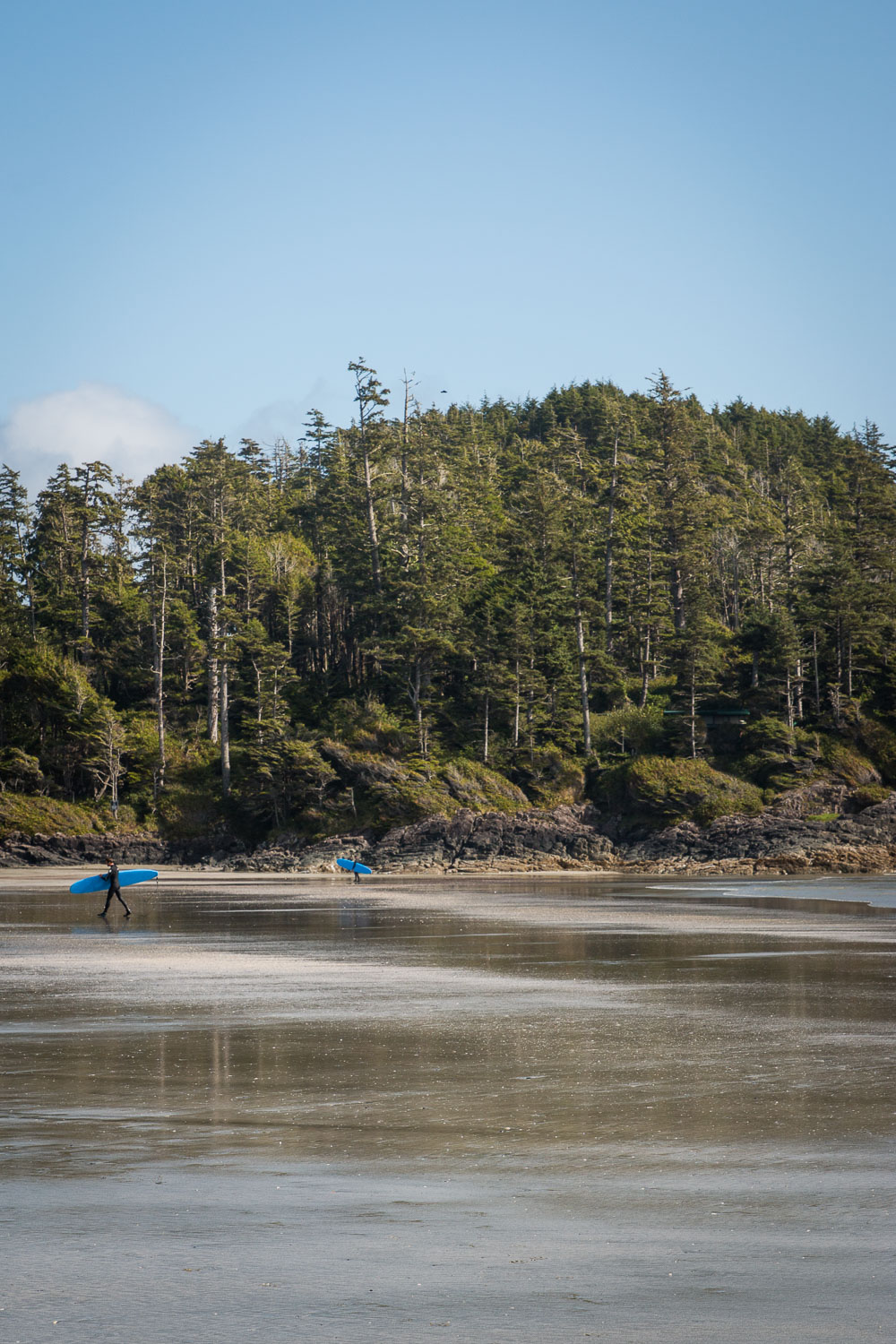 Surfers at Chesterman Beach in Tofino, Summer 2017