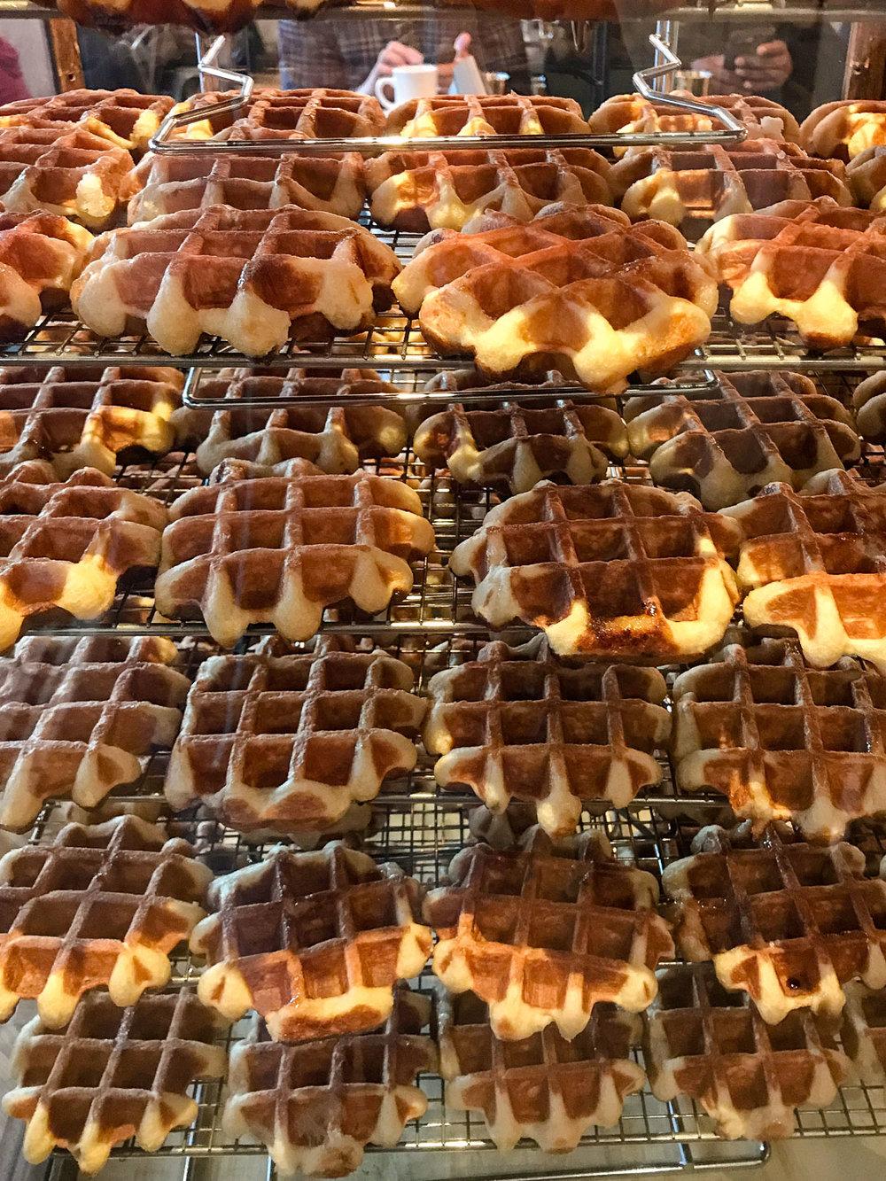 Breakfast waffles at Medina's Cafe, Vancouver Canada, November 2017