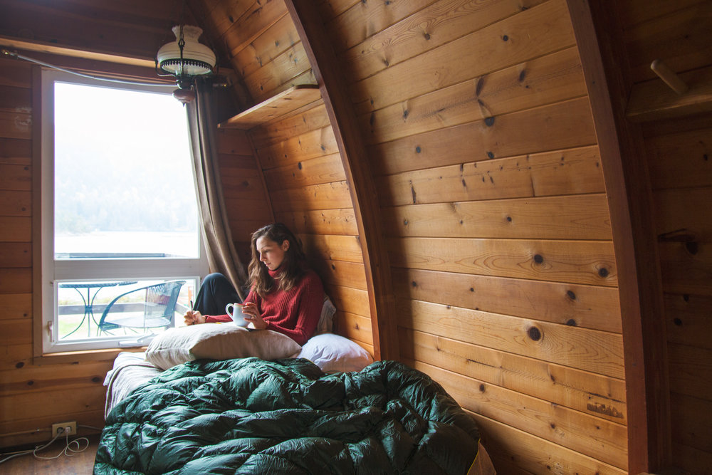 Inside our cedar-lined vintage cabin. Photo by  Laura Hughes