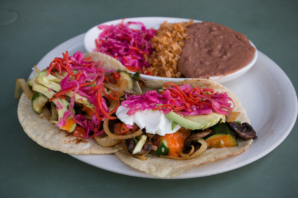 Veggie tacos at the Farmer & the Cook. Their veggie burger was the BEST I've ever tasted.
