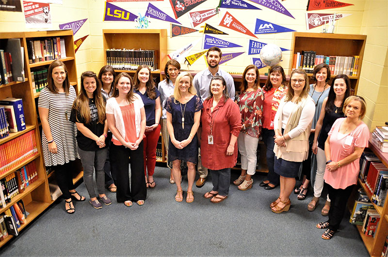 Back row L to R: Jessica Morris, IB Counselor; Michelle Lundy, IB Math SL; Tara Brown, IB History ; Melanie McDonald, PIB 9th English; Justin Cometti, PIB US Hisotry AP; Catherine Coleman, PIB/IB English 10-12; Kathy Williams, PIB Geometry & IB Math Studies SL; Blair Hartley, TOK;   Front row L to R: Katie Denton, IB Theatre; Ashleigh Russell, IB Spanish; Mandy Jennings, PIB &  IB Chemistry; Shannon Shepherd, PIB Algebra 2 Trig & IB AP Statistics; Sarah Holt, PIB Spanish; Kelly Williams, EE; Dee Dee Litaker, Assistant Principal/IB Coordinator