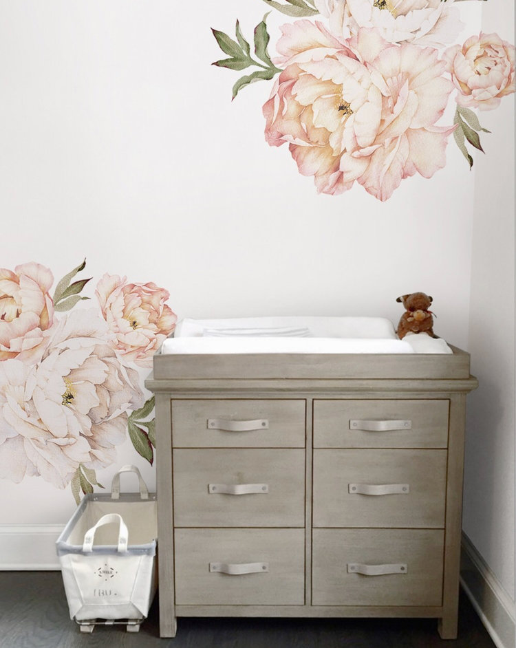 little whimsy — peony flowers wall sticker - vintage peach