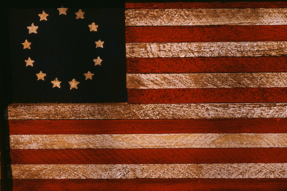 """Stars and Stripes"" flag adopted by the Continental Congress in 1777"