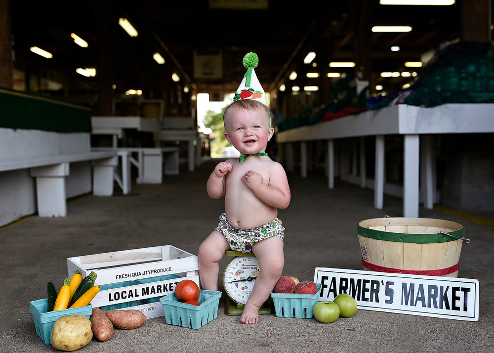 Alston Renfrow's, Farmer's Market themed, first birthday party from our July/August issue.