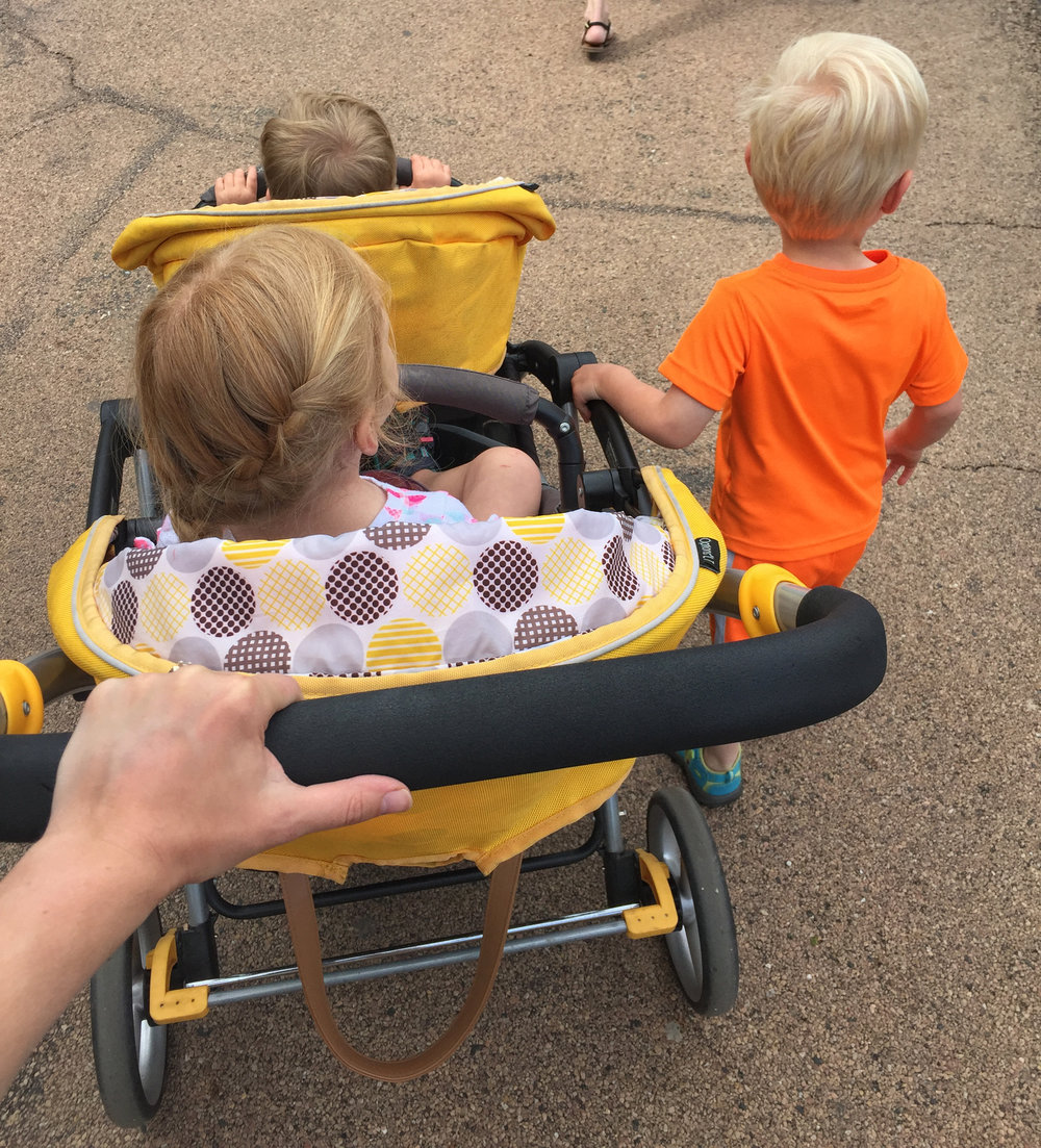 Self, in a few years when you start to feel sad that they are all grown, just remember how often you had to push a 90+ pound double stretch-limo of a stroller around. Praise the miracle that is them walking all on their own. Feel better? No? Maybe? Good.