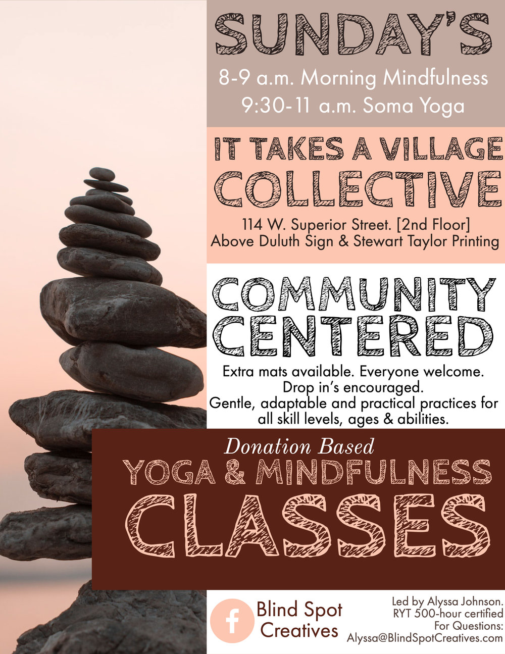 Morning Mindfulness Community Class - It takes a village- alyssa johnson- blind spot wellness - yoga, mindfulness, meditation