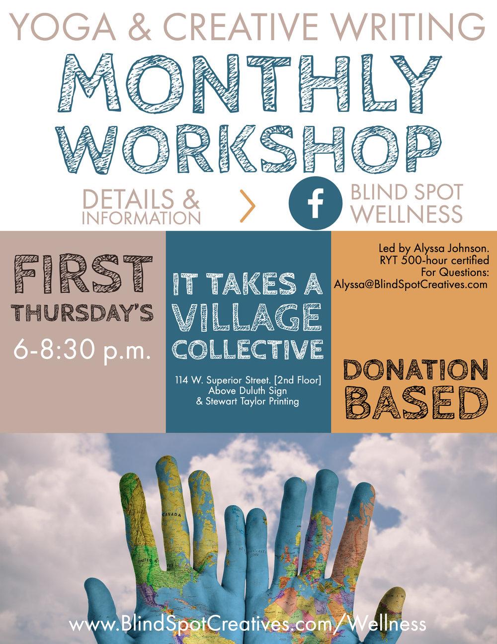 1st Thursday, Duluth, Minnesota. Writing and yoga workshop. Community class. Creativity