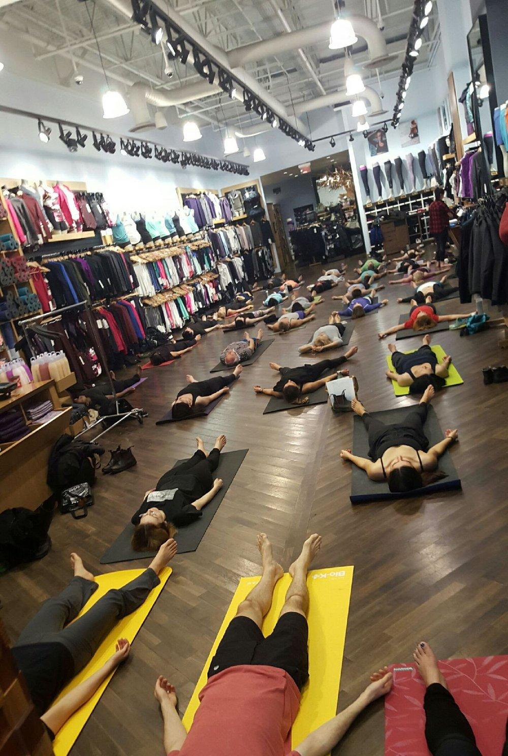 Yoga Class at Lululemon store- Yorkdale Toronto, ON