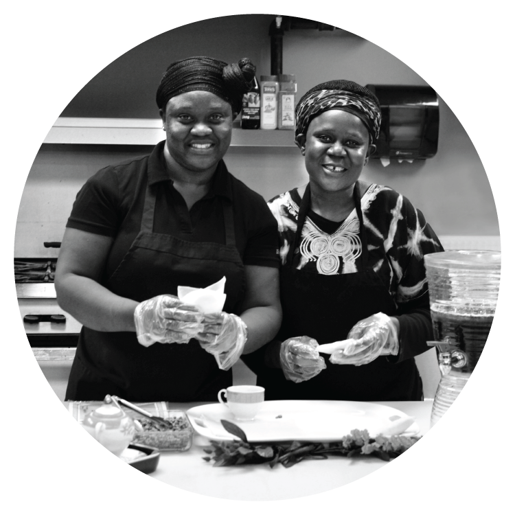 Flora & CC, from Kenya and South Sudan, are planning a large-event catering business called Aroma Kitchen. They'd like to one day operate their own venue where they can cater and host events like weddings.