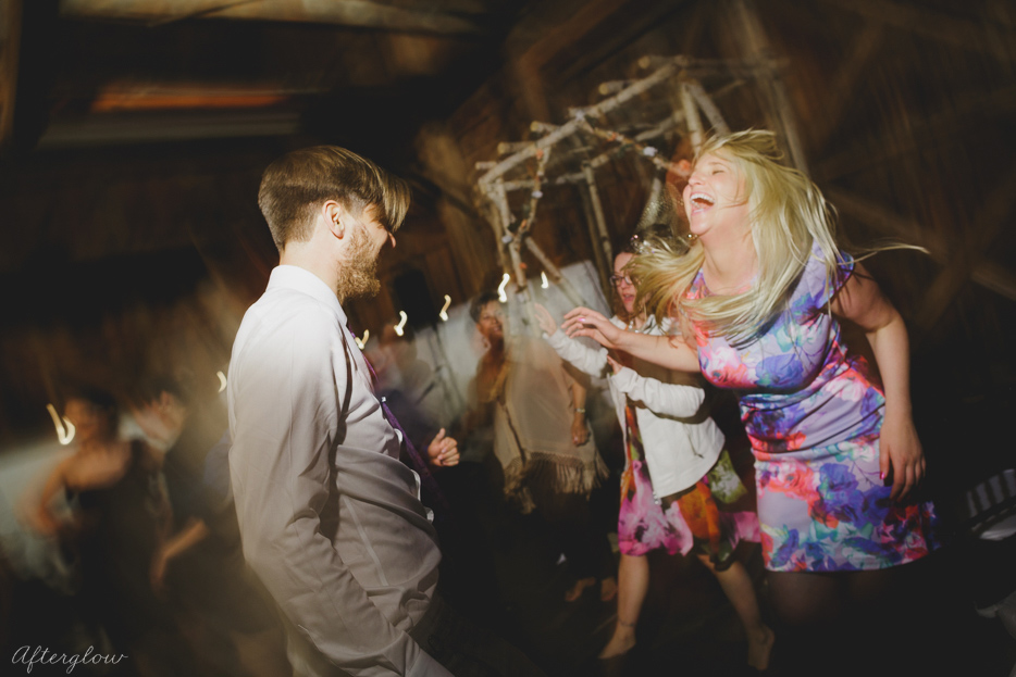 Wedding guests dancing at Ball's Falls Barn