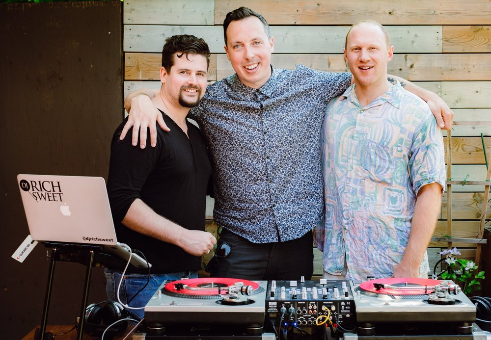 DJs Patty V, Rich Sweet & Trevor Kenny, photo by Becca Gilgan