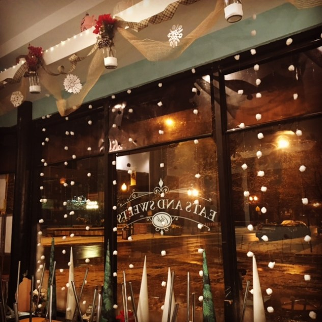 Erin Baker transformed the cafe into a winter wonderland. -