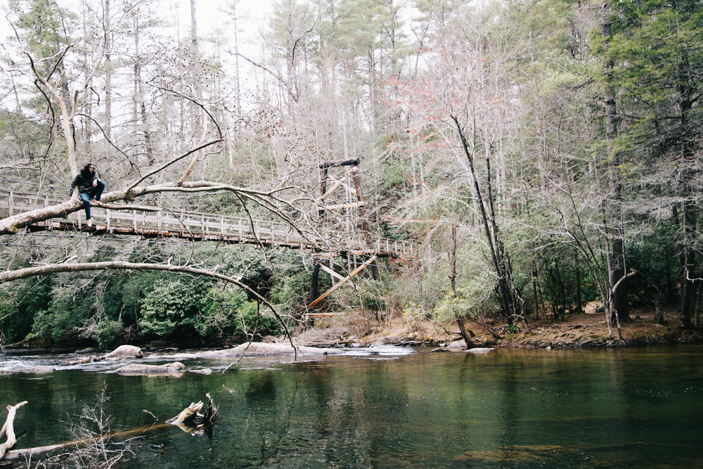 The Swinging Bridge Over The Toccoa River in Blue Ridge, GA