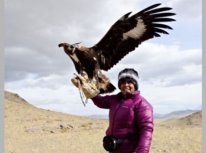 Connie with the Golden Eagle - Mongolia