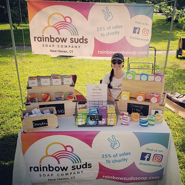 We're back to Edgewood Farmers Market after our wedding break!! And we have mini bars this week!! #rainbowsuds #handmade #soap #charity #rainbow #allnatural