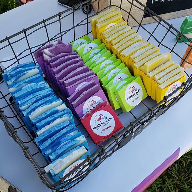 New half-size bars at the market this week! Our bars last so long, sometimes you don't need a full one. Check RainbowSudsSoap.com for full bars, we'll be adding the smaller ones soon! #rainbowsuds #handmade #soap #charity #allnatural #colorful #organic