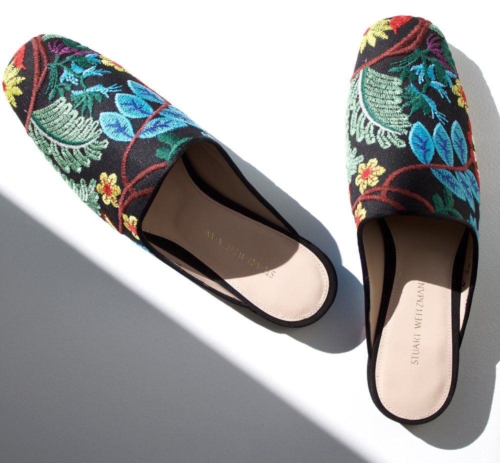 PIPEMULEARKY FLAT EMBROIDERED MULE -