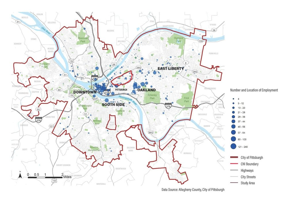 Proximity to Jobs   The map shows the distribution of jobs for employed residents of the City of Pittsburgh. The Middle Hill sits within one mile of major employment centers in the Pittsburgh region, such as the Central Business District and the University and Medical centers of the Uptown and Oakland neighborhoods to the south and east.