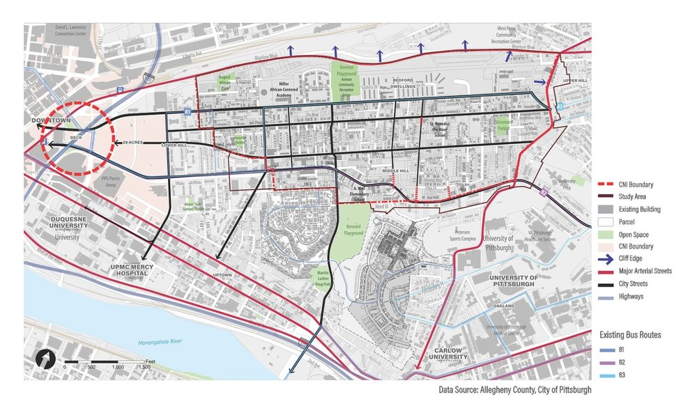 """Transportation   Despite the fact that the Middle Hill sits in a central location in the City of Pittsburgh, less than 1 mile from the central business district and the major educational and institutional assets of Uptown and Oakland, """"the Hill"""" can be hard to find."""