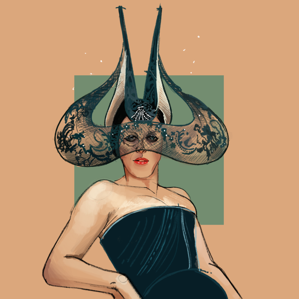 Isabella in a creation by milliner Philip Treacy - Illustration by  Fernando Monroy  based on an image by Diego Uchitel