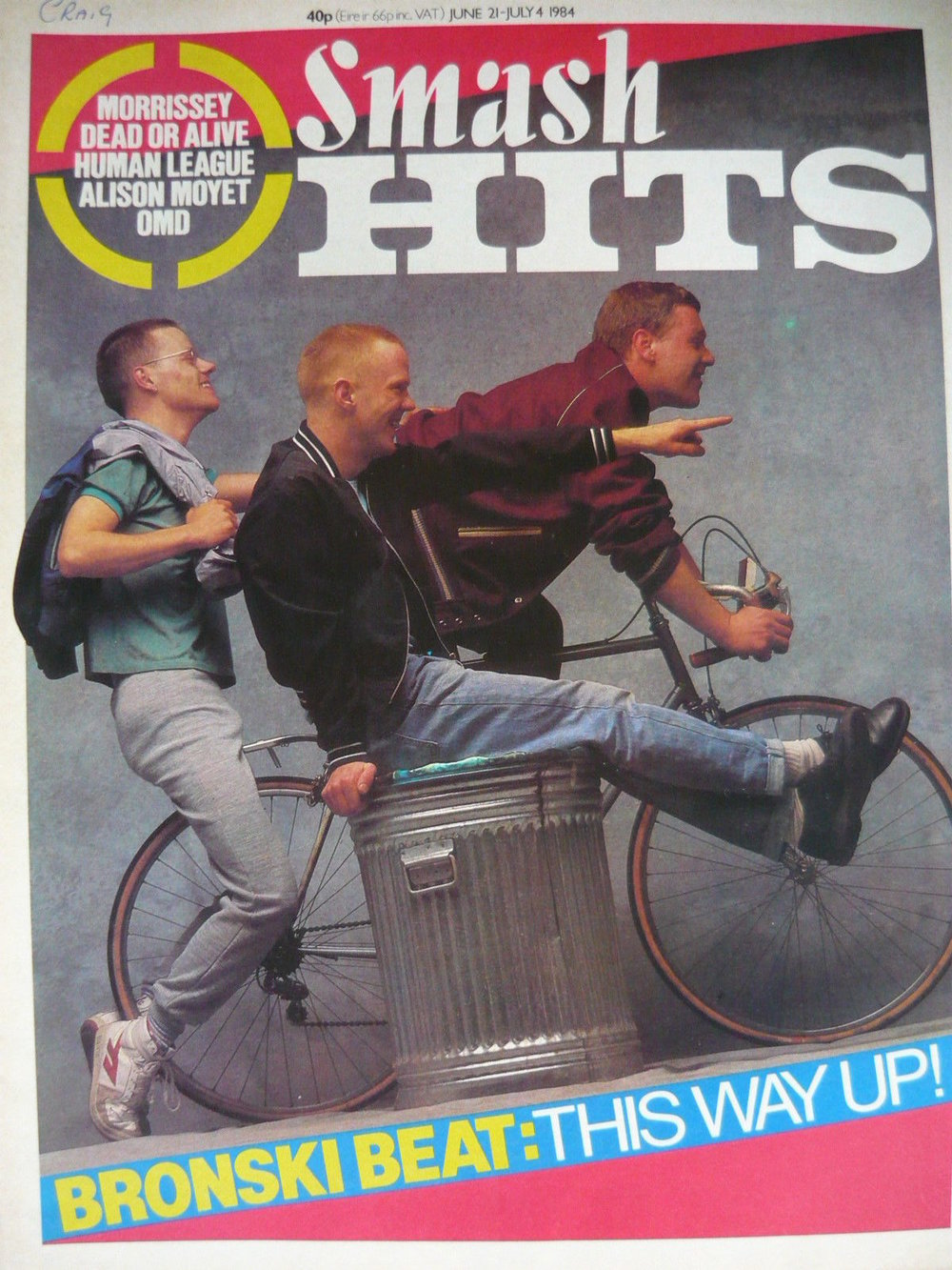 Bronski Beat on the cover of Smash Hits, 1984.