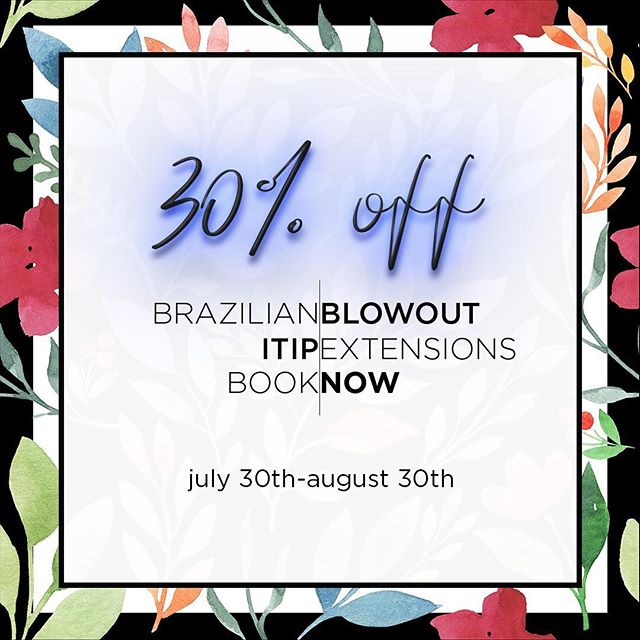 Hey guys!  Don't forget to book your Brazilian Blowout and/or extensions before August is over!  We are offering 30% off both services!! So don't miss out on the chance to save money while getting gorgeous hair! 🙌🏼💰limited spots are available so book now‼️ •••• #brittanypirtlehair #summersale #summersavings #brazilianblowout #itipextensions #dallasextensions #dallashair #dallasblowout #dallashairstylist #dallastx #dallas #dallasblogger #dallasbloggers #dallasextensionspecialist #dallashairsalon #dallasfashion #dallasbeauty #lakewooddallas #deepellum #eastdallas #uptowndallas #lowergreenville #klydewarrenpark