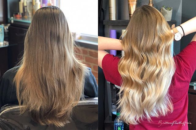 Before and after.  This look took 2 sessions to achieve the desired color! ❤️ Are we in love? •••• #brittanypirtlehair #beforeandafter #haircolor #hairstylist #dallashairstylist #dallashair #ombre #blondeombre #dallastx #dallas #dfwhairscene #dallasmodels #blonde #balayage #balayageombre
