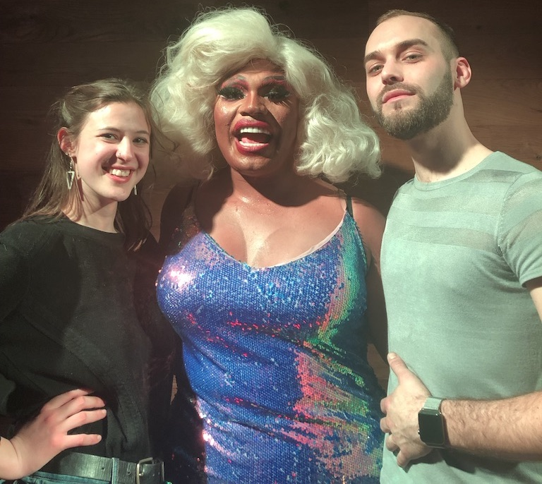 From left to right: Producer Mariel Cariker, Brita Filter, and host Joshua Croke at Brita's show in Boxer's Washington Heights as heard in the episode