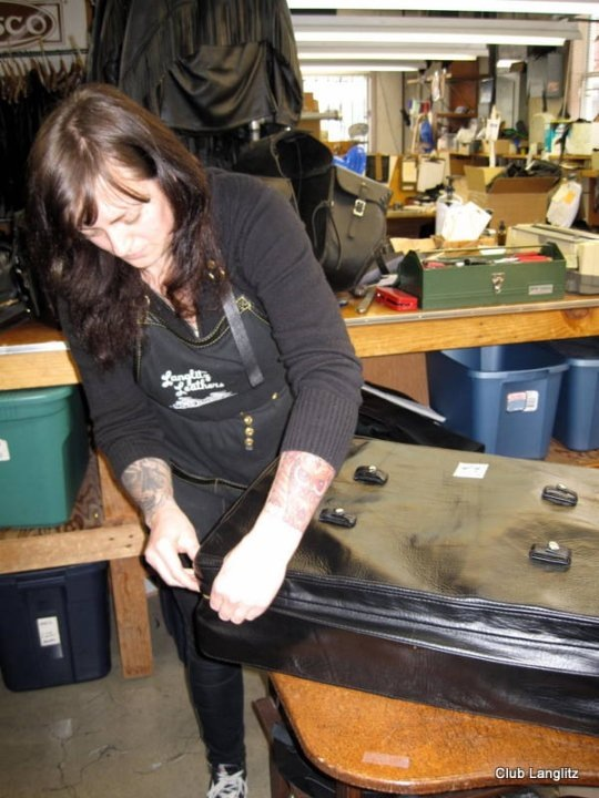 Making a trunk bag at Langlitz circa 2010.