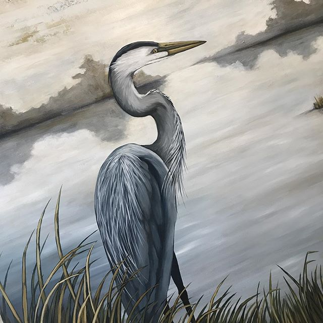 Painting a foggy morning on a sunny day! 😎🌞 #heronpainting #greatblueheron #greatblueheronpainting #birdpainting #birdpaintings #louisianapainting #louisianaartist #louisianaart