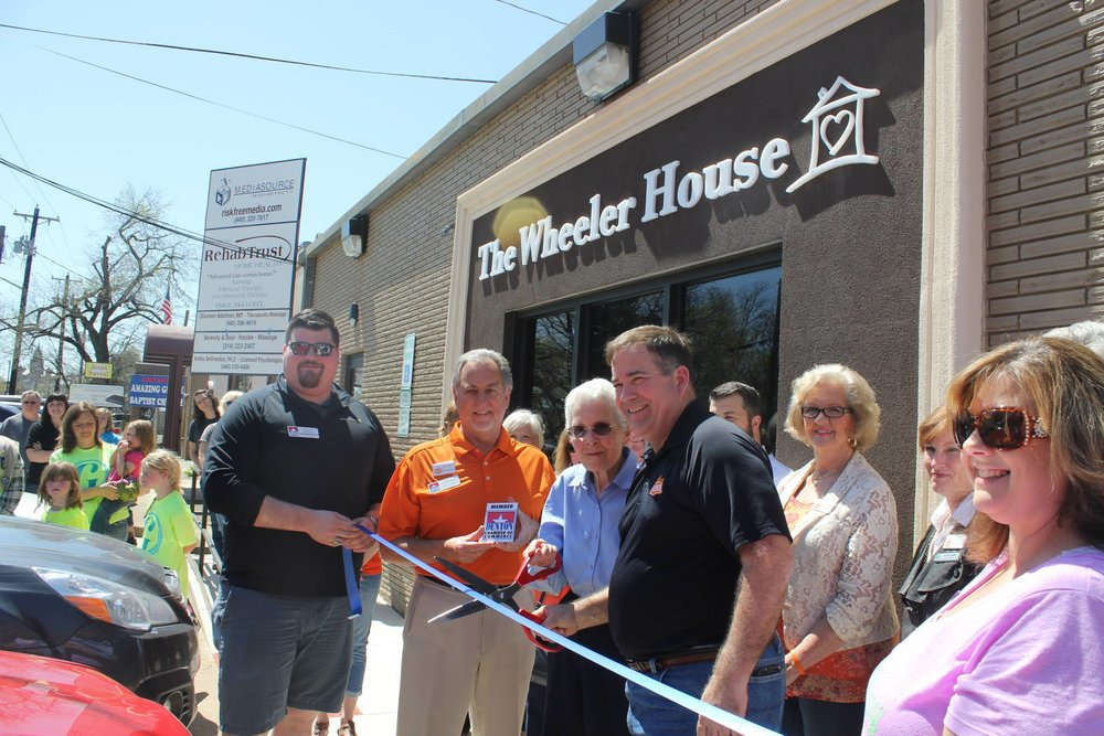 Pat Smith and Priscilla Sanders at The Wheeler House ribbon cutting in 2015.