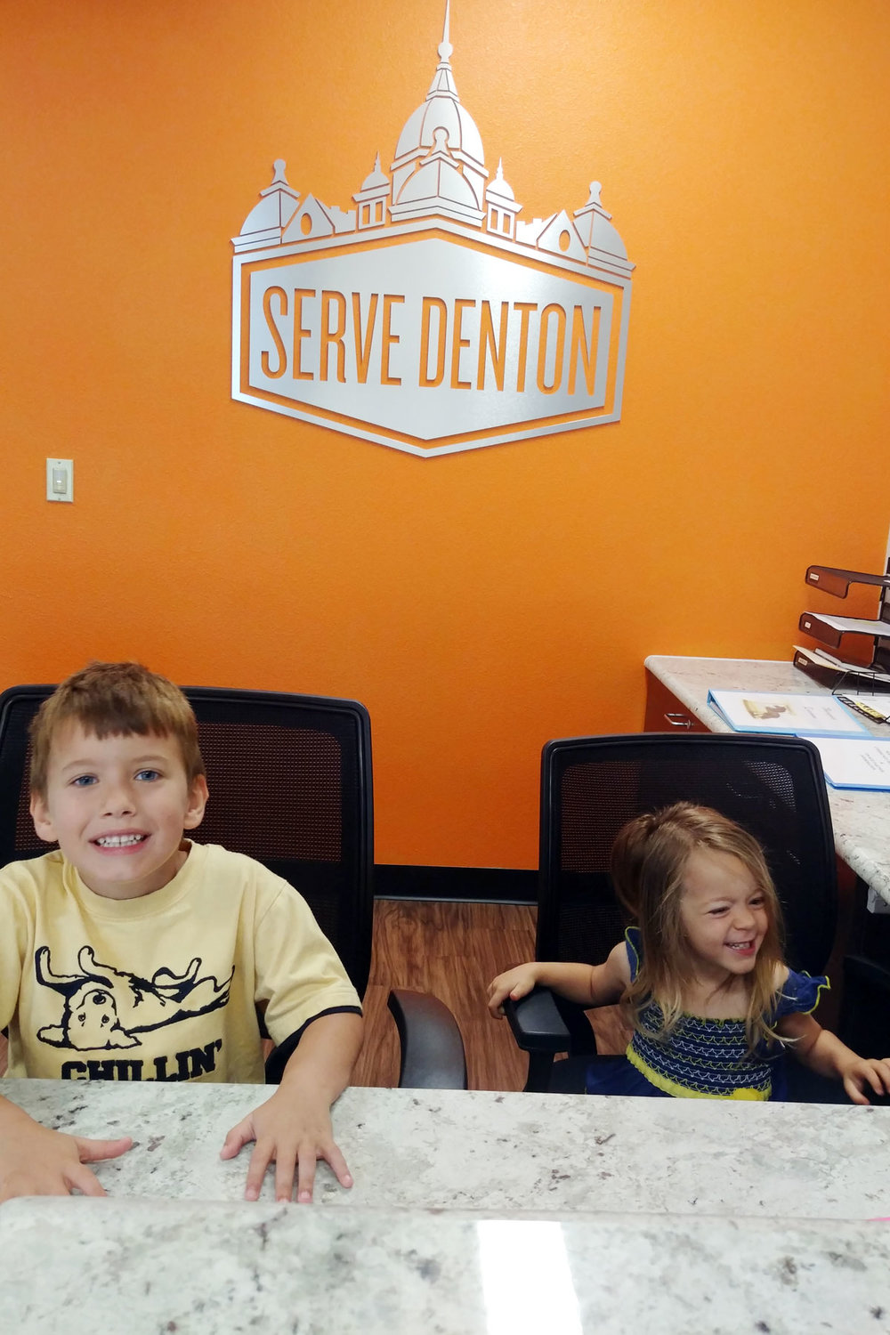 Ashlee's children Morrison (6) and Maybel (3) often come with Ashlee when she volunteers at the Serve Denton Center.
