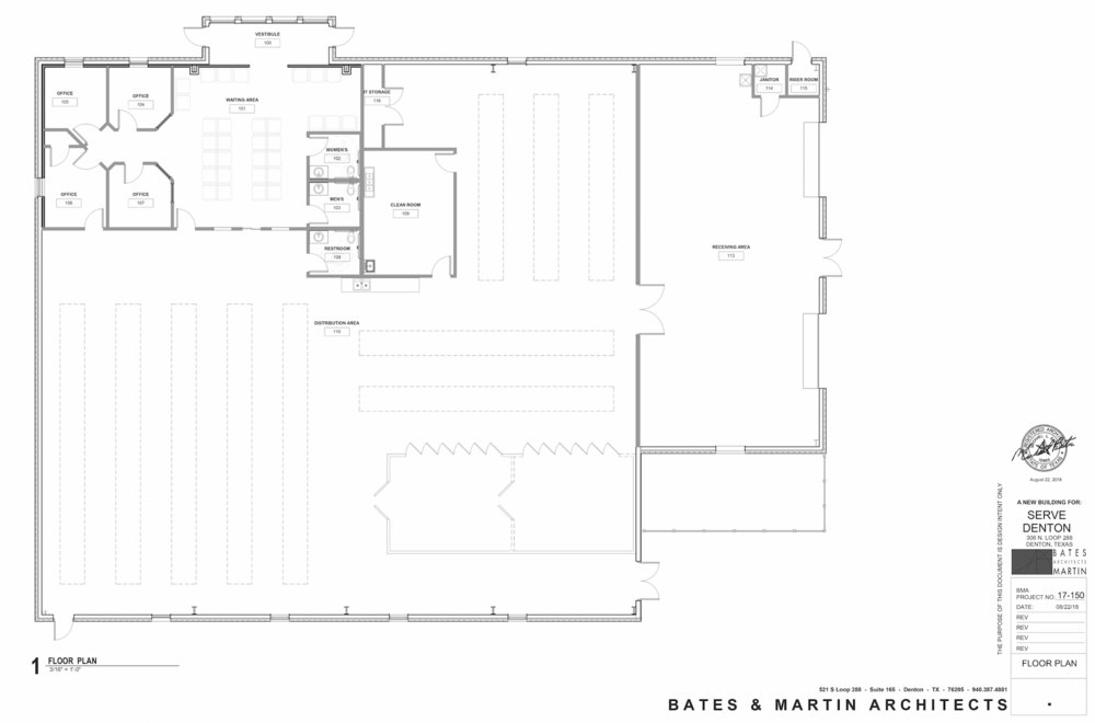 Denton Community Food Center floor plan created by  Bates & Martin Architects