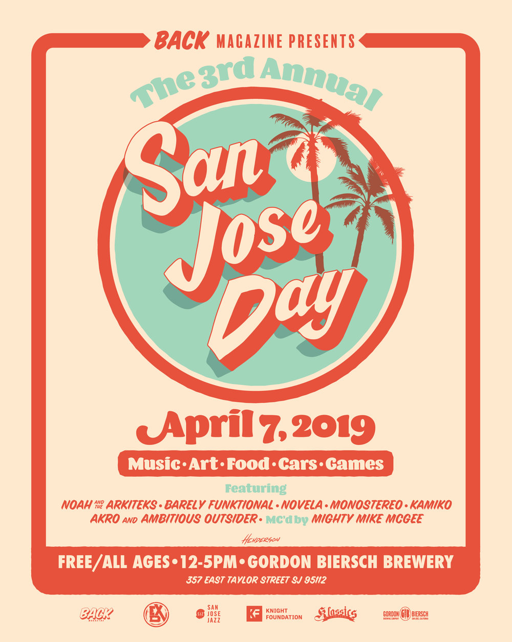 TheThird Annual San Jose Day-You're Invited! - San Jose Day, presented by BACK Magazine, was selected to be part of the Knight Foundation's #SpeakUpSanJose initiative to fund 20 organizations to foster community engagement.The Third Annual SJ Day will be hosted at Gordon Biersch Brewing Company. We embrace the cities diversity and pay homage through live art, local performing bands, local brands and businesses, classic cars, food, beer, and more!This event is FREE and for all ages! All are welcome!Click here to RSVP on Facebook now!